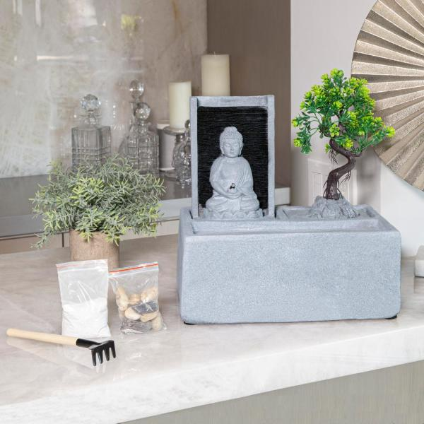 Alpine Corporation Buddha Bonsai Garden Tabletop Waterfall Fountain With Led Light Dig278 The Home Depot