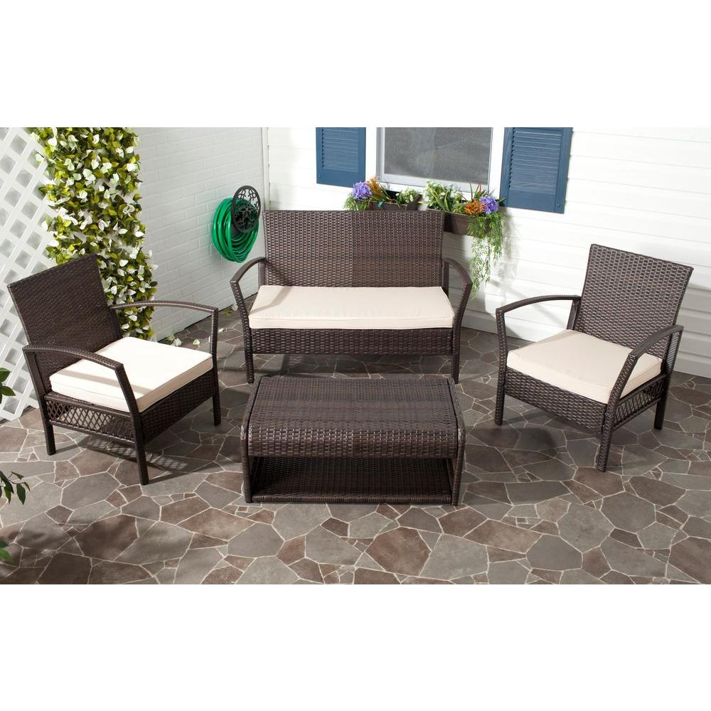 Safavieh Avaron Brown Rattan 4-Piece Waterproof Terylene Patio Seating Set with Beige Cushions