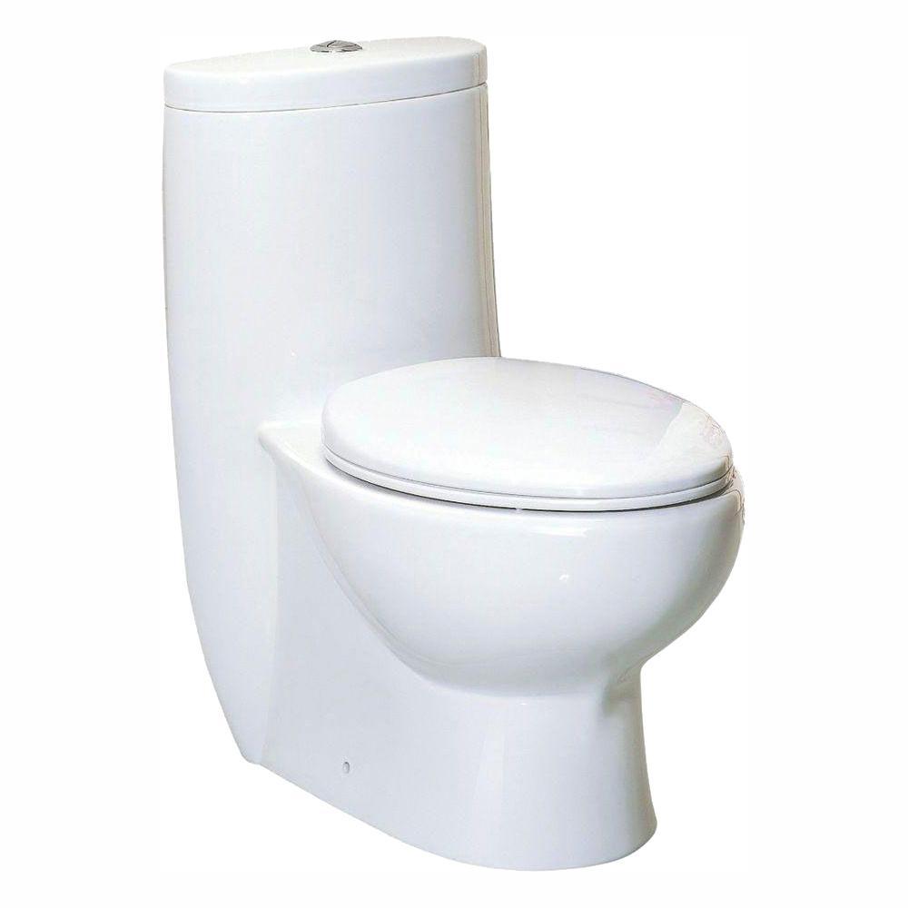 Whitehaus Collection Magic Flush 1-Piece 1.6/1.1 GPF Dual Flush Elongated Toilet in White