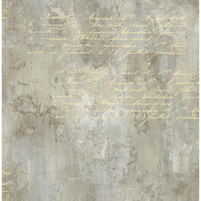Hampstead Metallic Gold and Taupe Faux Script Wallpaper