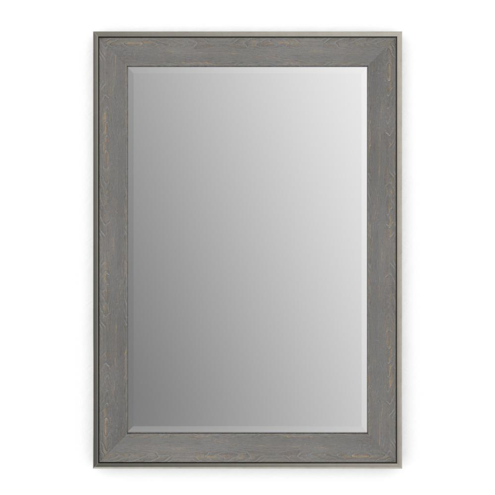 Delta 29 in. x 41 in. (M3) Rectangular Framed Mirror with Deluxe Glass and Float Mount Hardware in Weathered Wood