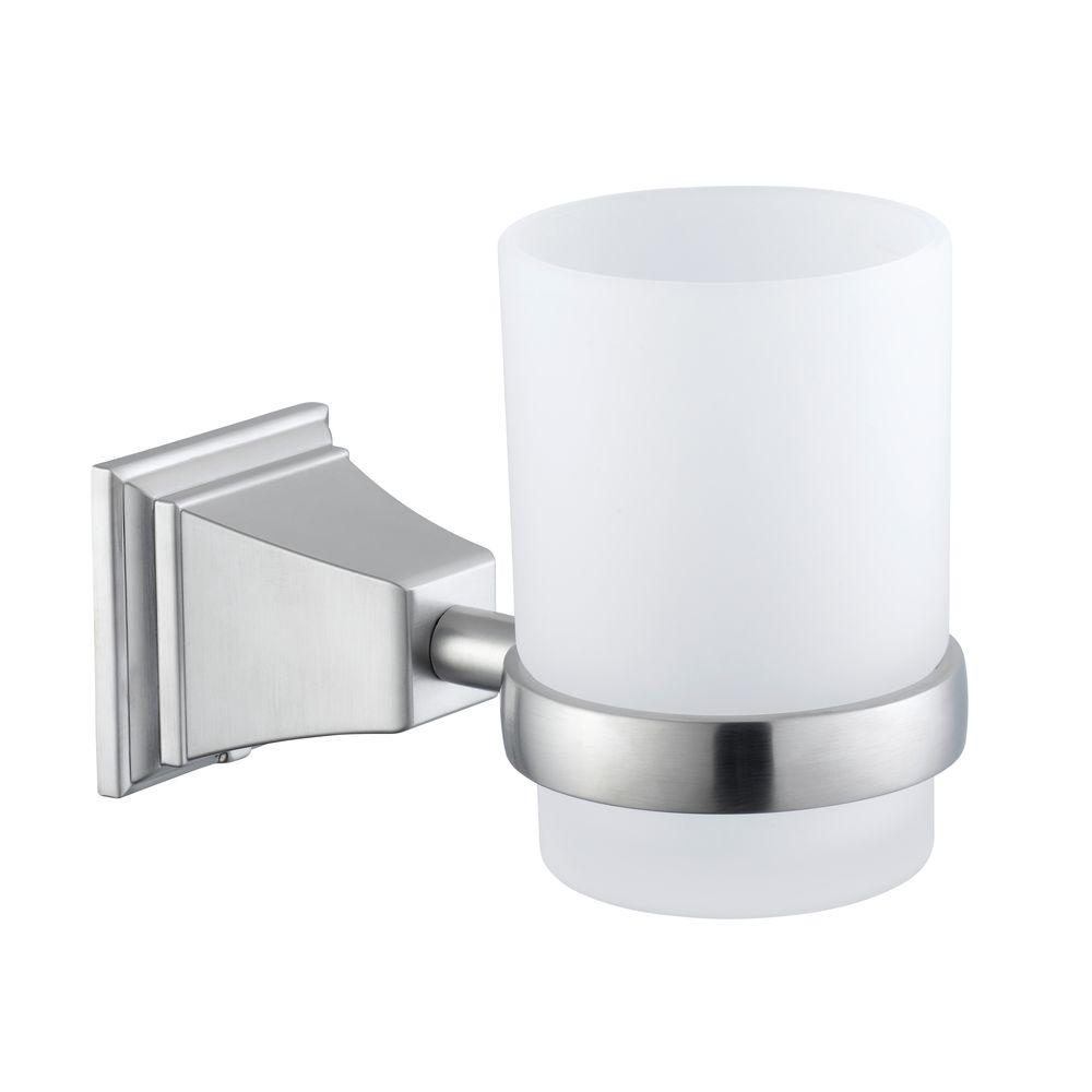 Pegasus Exhibit Wall Mounted Tumbler Holder In Brushed Nickel