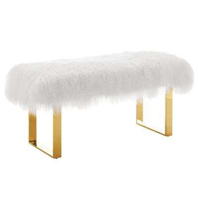 Sherpa White Sheepskin Bench with Gold Legs