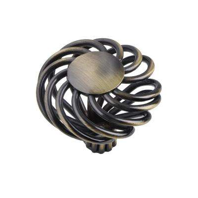 Utopia Alley Aire Round Swirl Cabinet Knob, Antique Brass, 1.8""