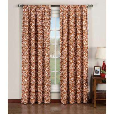 Semi-Opaque Valencia Printed Cotton Extra Wide 84 in. L Rod Pocket Curtain Panel Pair, Rust (Set of 2)
