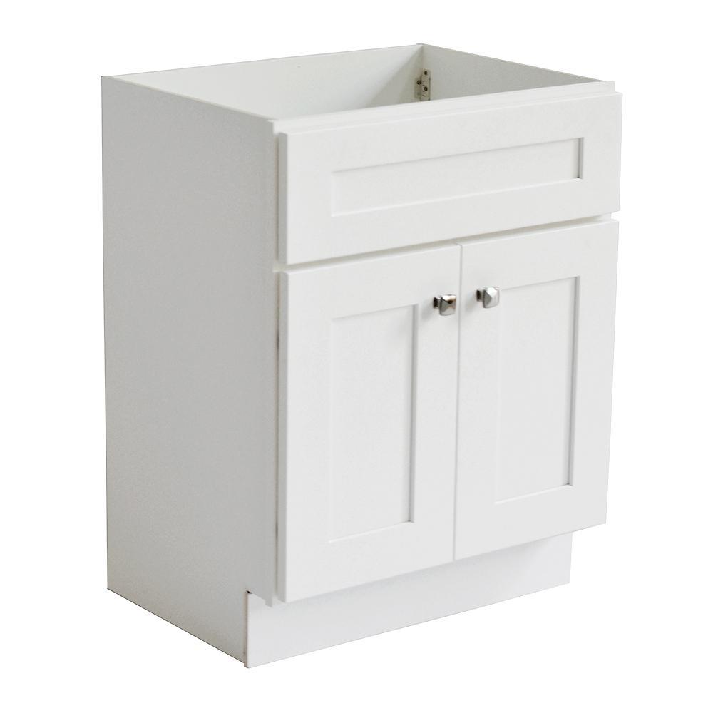 Brookings RTA 24 in. W x 21 in. D 2-Door Shaker Style Bath Vanity Cabinet Only in White