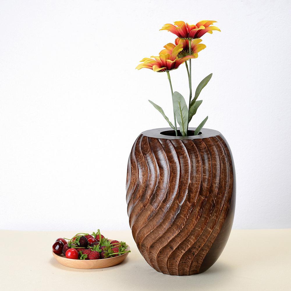 10 in. Tall Handmade Decorative Tapered Mango Wood Swirl Vase in Brown