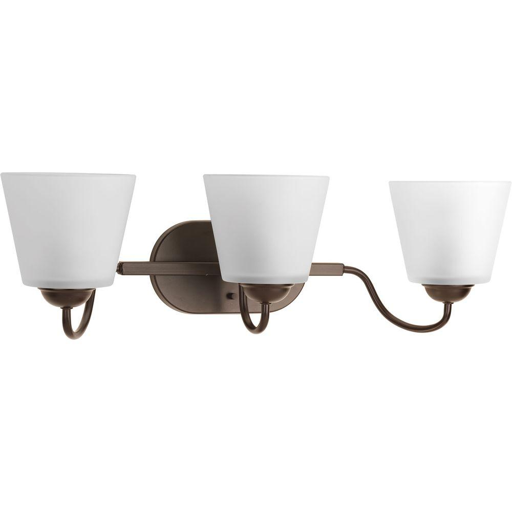 Arden Collection 3-Light Antique Bronze Vanity Light with Etched Glass Shades
