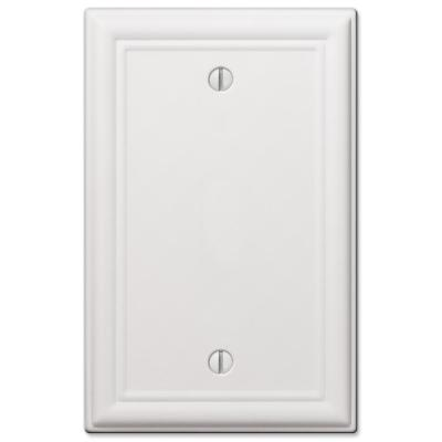 Ascher 1 Gang Blank Steel Wall Plate - White