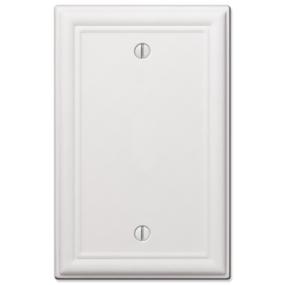 Ascher 1 Gang Blank Steel Wall Plate - White