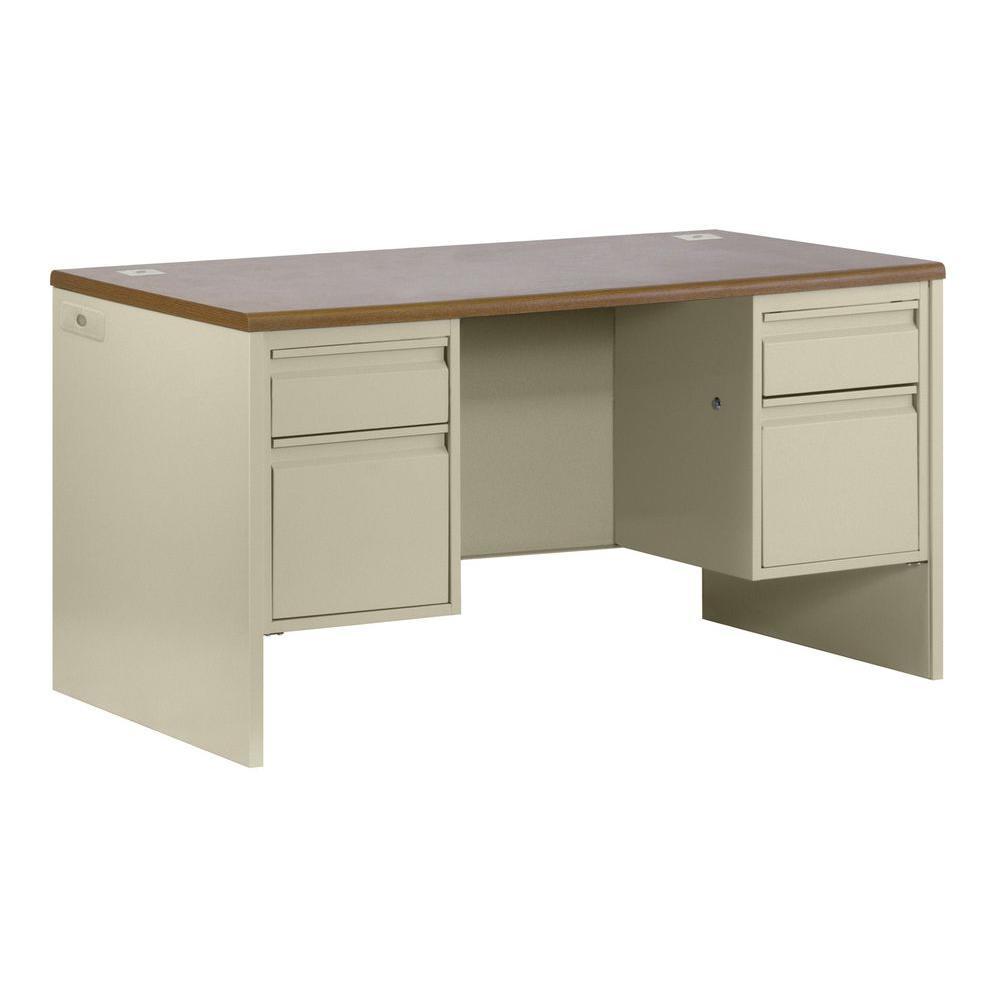 800 Series Double Pedestal Credenza Steel Desk in Putty/Oak
