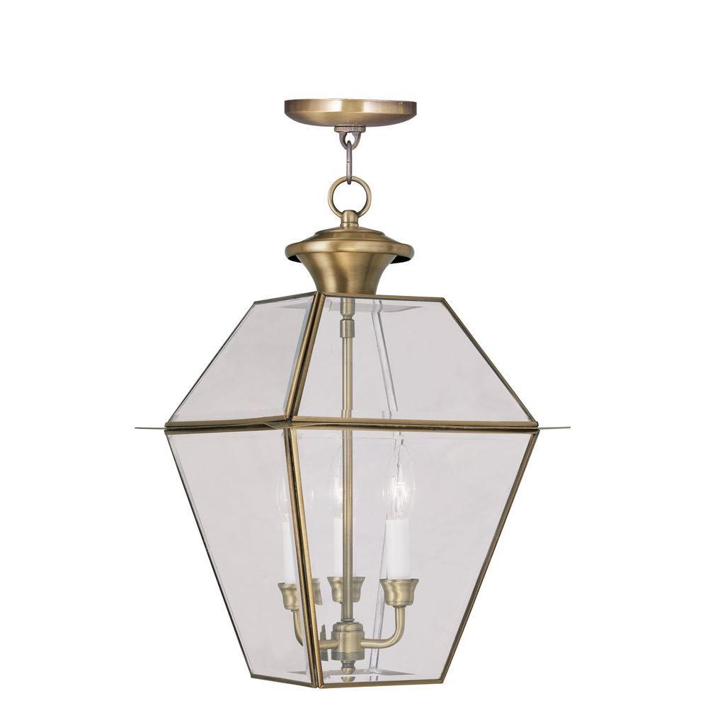 Providence 3-Light Antique Brass Outdoor Incandescent Hanging Lantern