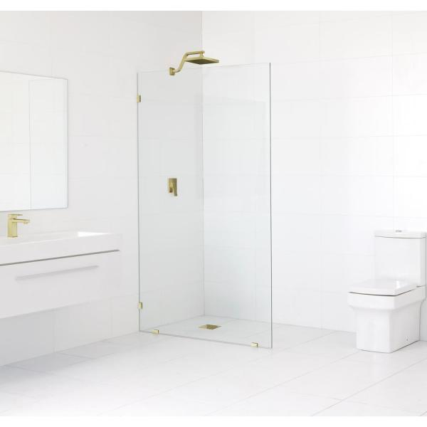 34 in. x 78 in. Frameless Fixed Shower Door in Satin Brass without Handle
