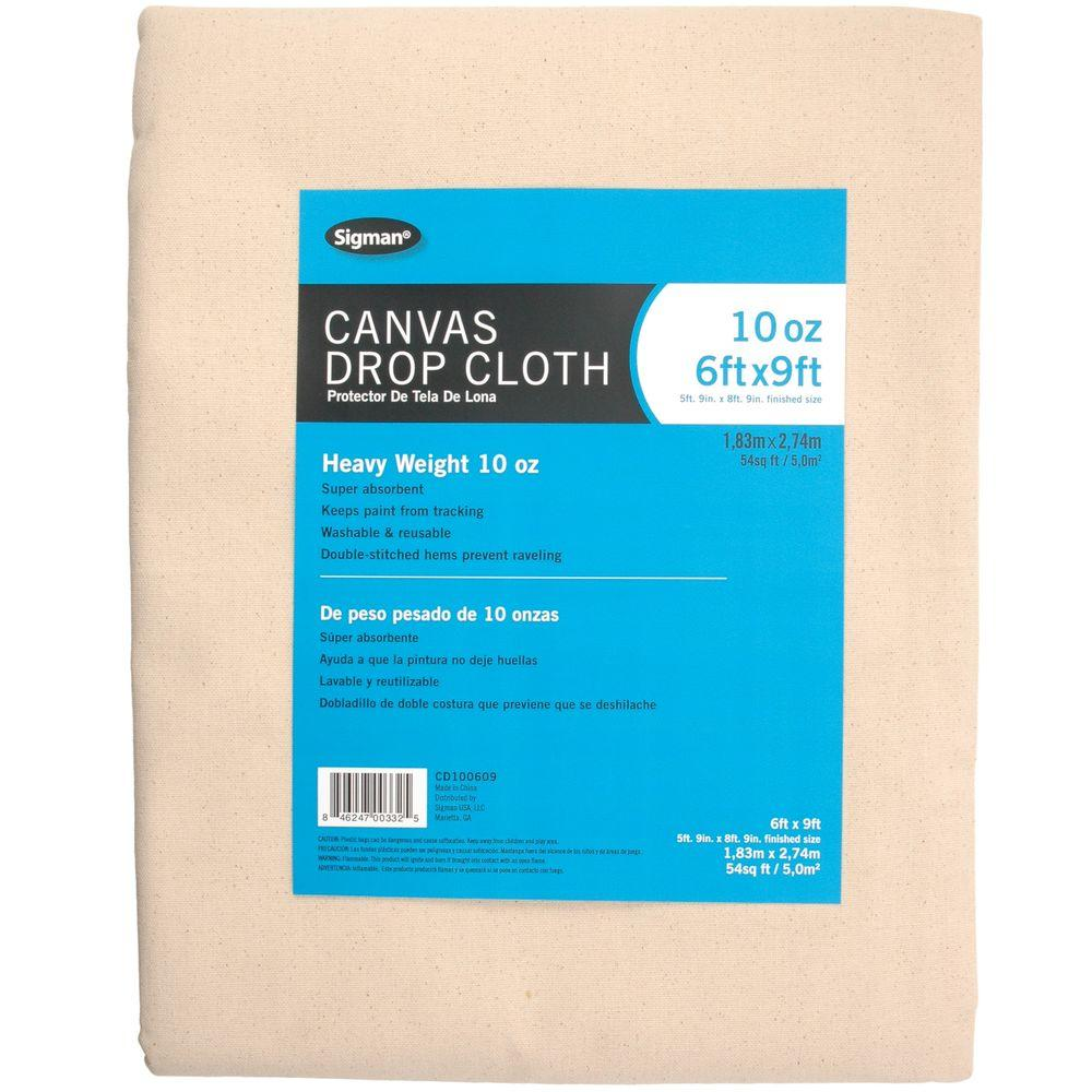 Sigman 5 Ft 9 In X 8 Ft 9 In 10 Oz Canvas Drop Cloth Cd100609