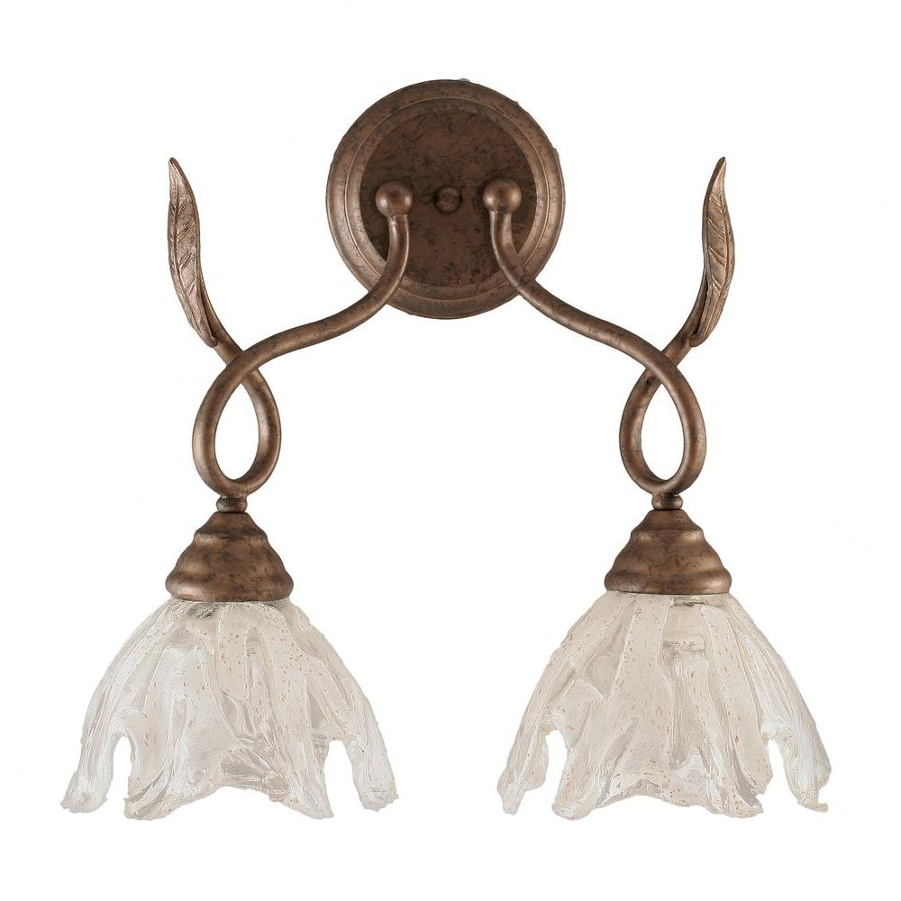 Adair 2-Light Bronze Sconce with Italian Ice Glass