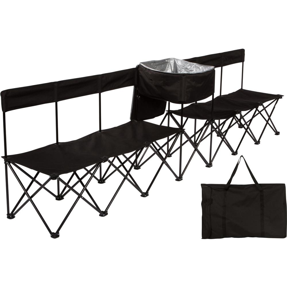 Prime Trademark Innovations 10 Ft Black Portable 6 Seater Folding Team Sports Sideline Chair With Attached Cooler Andrewgaddart Wooden Chair Designs For Living Room Andrewgaddartcom