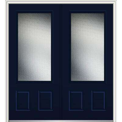 72 in. x 80 in. Micro Granite Left-Hand Inswing 3/4-Lite Decorative 2-Panel Painted Fiberglass Smooth Prehung Front Door
