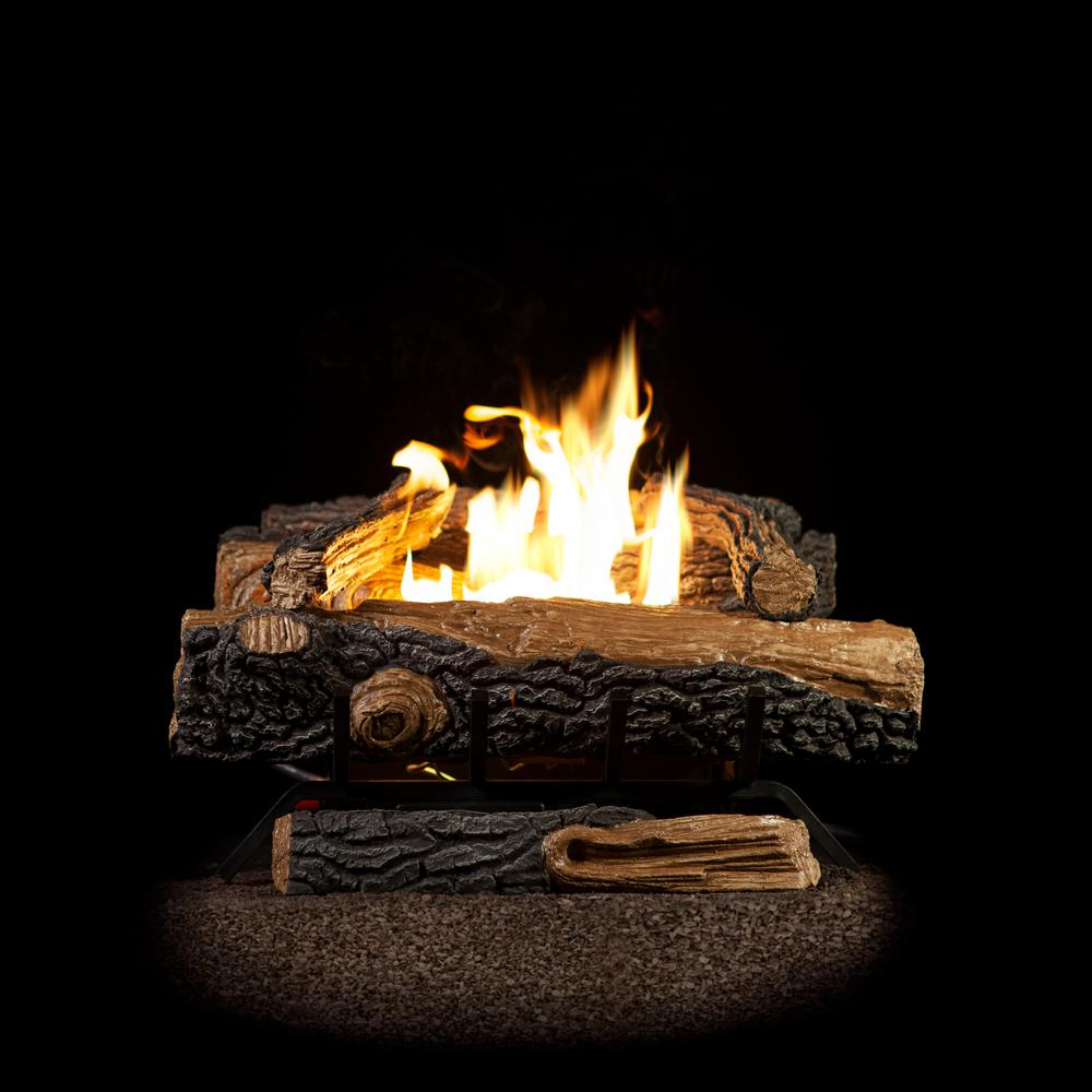 Emberglow Oakwood 22 75 In Vent Free Propane Gas Fireplace Logs With Thermostatic Control