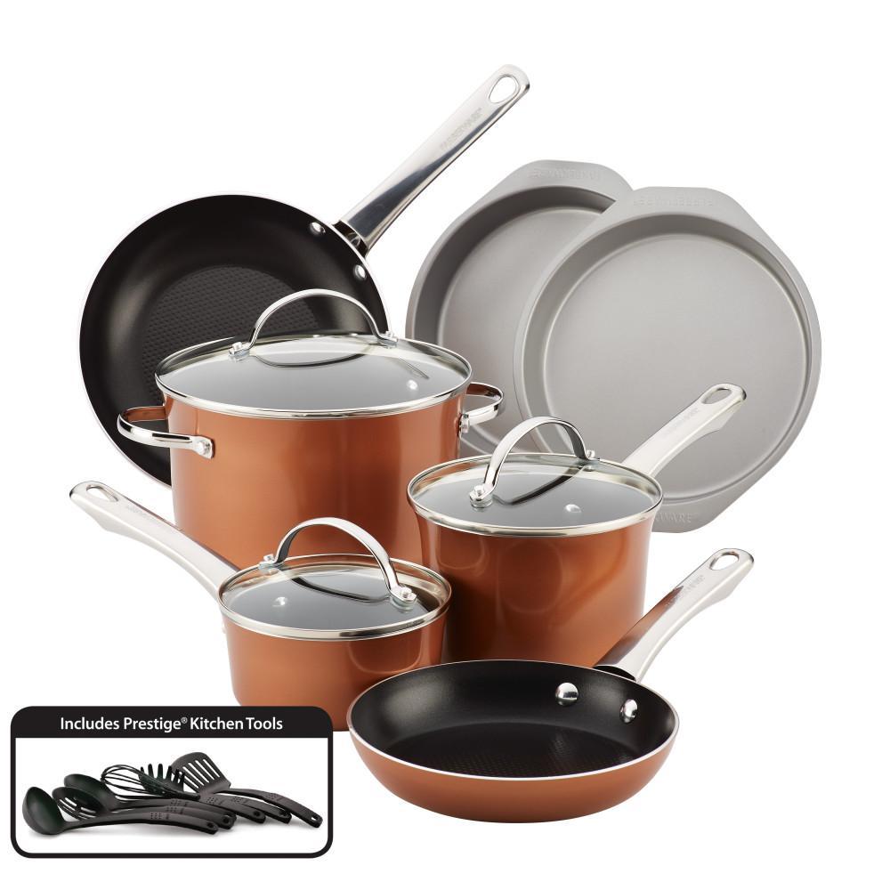 Luminescence 16-Piece Copper Shimmer Aluminum Nonstick Cookware Set