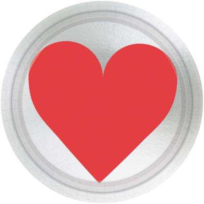 Key To Your Heart 7 in. x 7 in. Metallic Paper Valentine's Day Plate (8-Count 5-Pack)