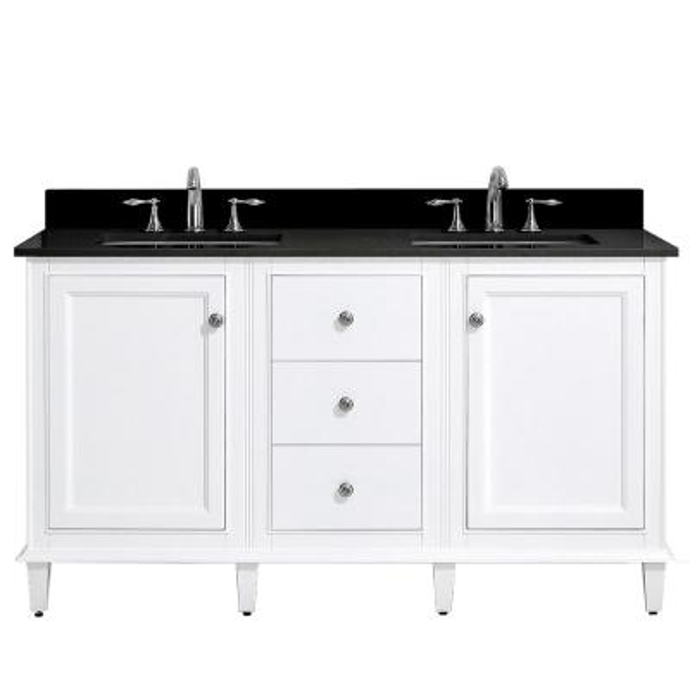 Riverpine 61 in. W x 22 in. D Bath Vanity in White with Granite Vanity Top in Black with White Sinks