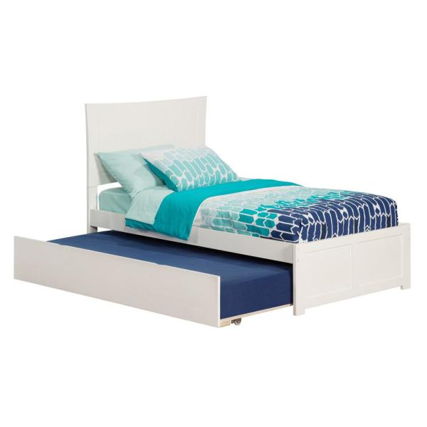 Atlantic Furniture Metro White Twin Platform Bed with Flat Panel Foot Board and Twin Size Urban Trundle Bed