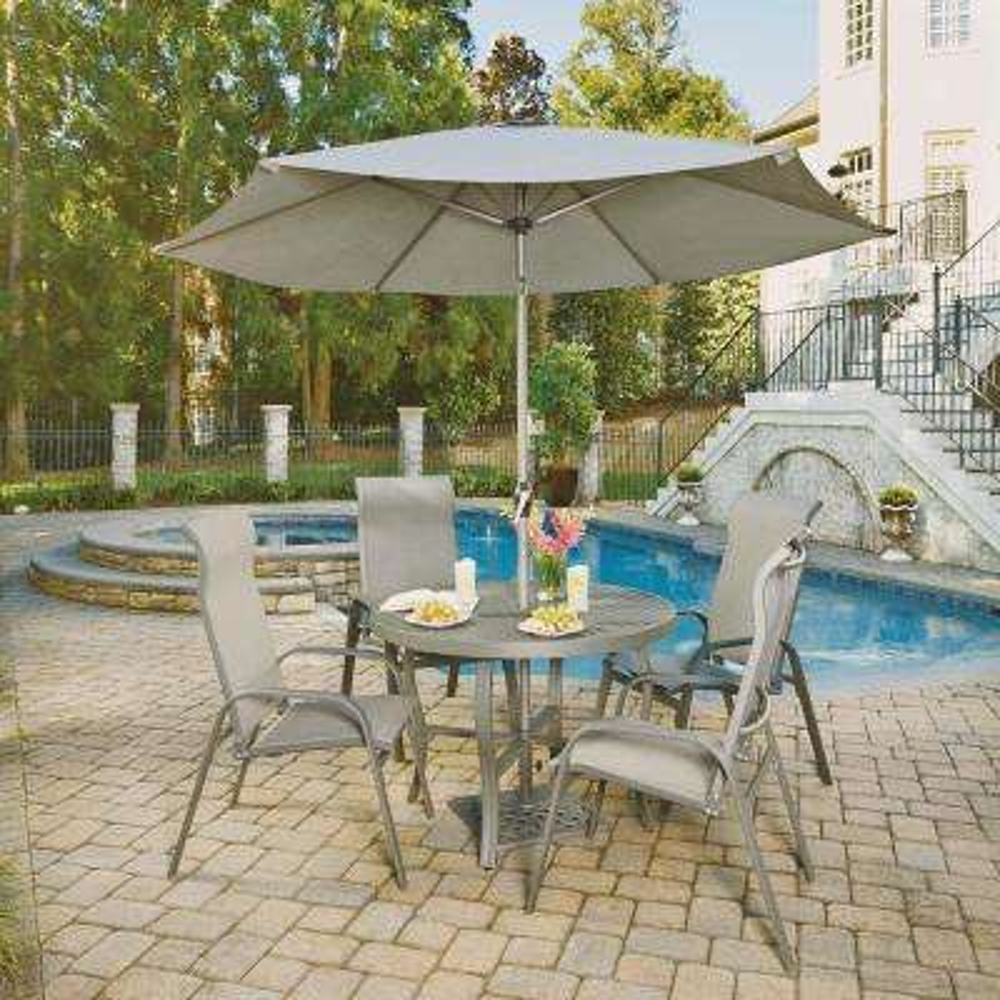 Perfect Daytona Charcoal Gray 7 Piece Aluminum Round Outdoor Dining Set