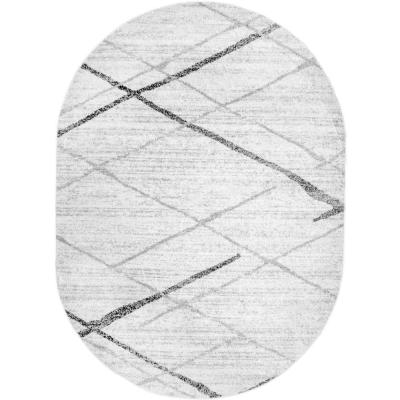 Thigpen Contemporary Stripes Gray 5 ft. x 8 ft. Oval Rug