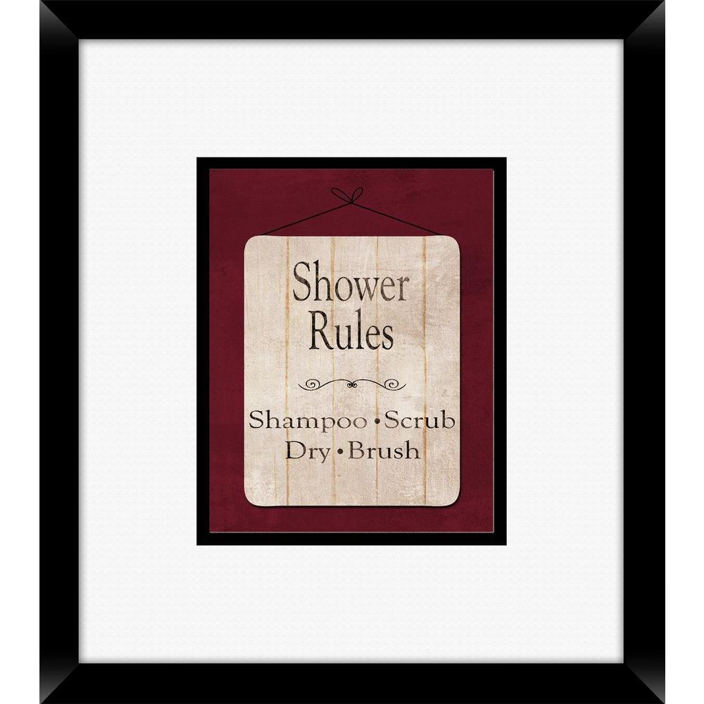 "18 in. x 16 in. ""Bath Rules B"" Framed Wall Art"