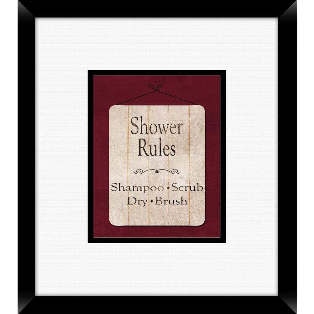 "18 in. x 16 in. ""Bath Rules B"" Framed Wall Art"