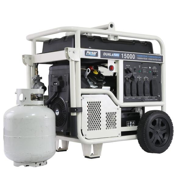 15,000/12,000-Watt Dual Fuel Gasoline/Propane Powered Electric Start Portable Generator V-Twin 713 cc CARB Compliant