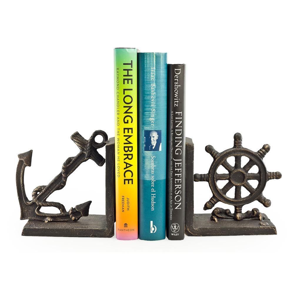 Danya B Nautical Black Iron Bookends Set Of 2 Zi08303 The Home Depot