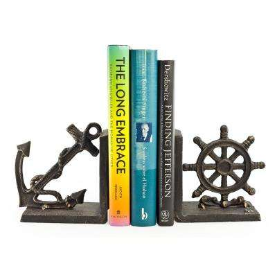 Nautical Black Iron Bookends (Set of 2)