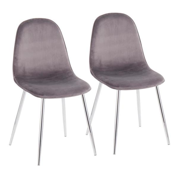 Lumisource Pebble Grey Velvet And Chrome Metal Dining Chair Set Of 2 Ch Pebble Svvgy2 The Home Depot