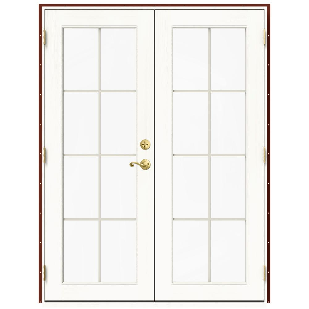 Jeld Wen 60 In X 80 In W 2500 Red Clad Wood Right Hand 8 Lite French Patio Door W White Paint