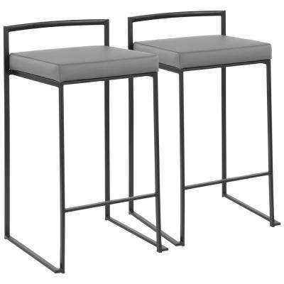 Fuji 26 in. Black Stackable Counter Stool with Grey Faux Leather Cushion (Set of 2)