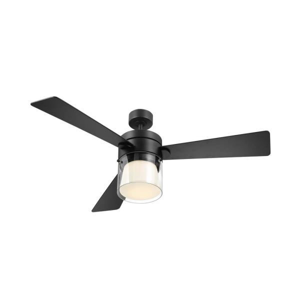 Eglo Casou 52 In Led Integrated Matte Black Light 3 Blade Ceiling Fan With Remote 203217a The Home Depot