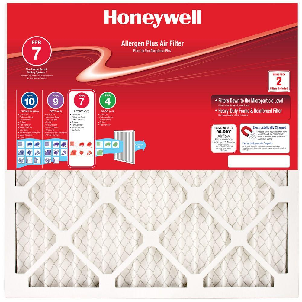 Honeywell 16 in. x 25 in. x 1 in. Allergen Plus Pleated FPR 7 Air Filter (2-Pack)