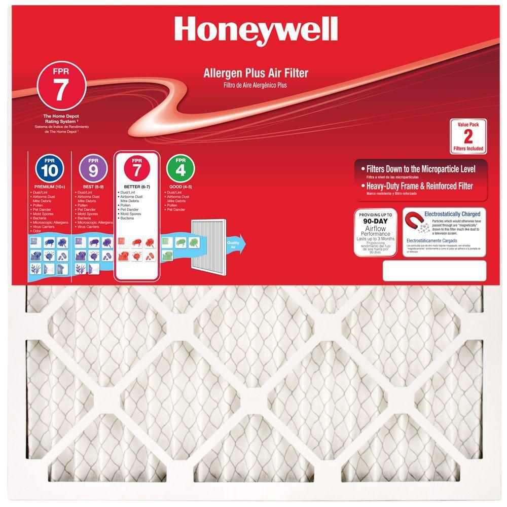 16  x 25  x 1  Allergen Plus Pleated FPR 7 Air Filter (2-Pack)