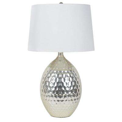 Hammered 28.5 in. Silver Table Lamp with Faux Silk Shade