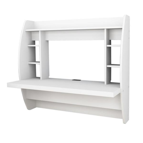 Prepac White Desk with Shelves WEHW-0200-1