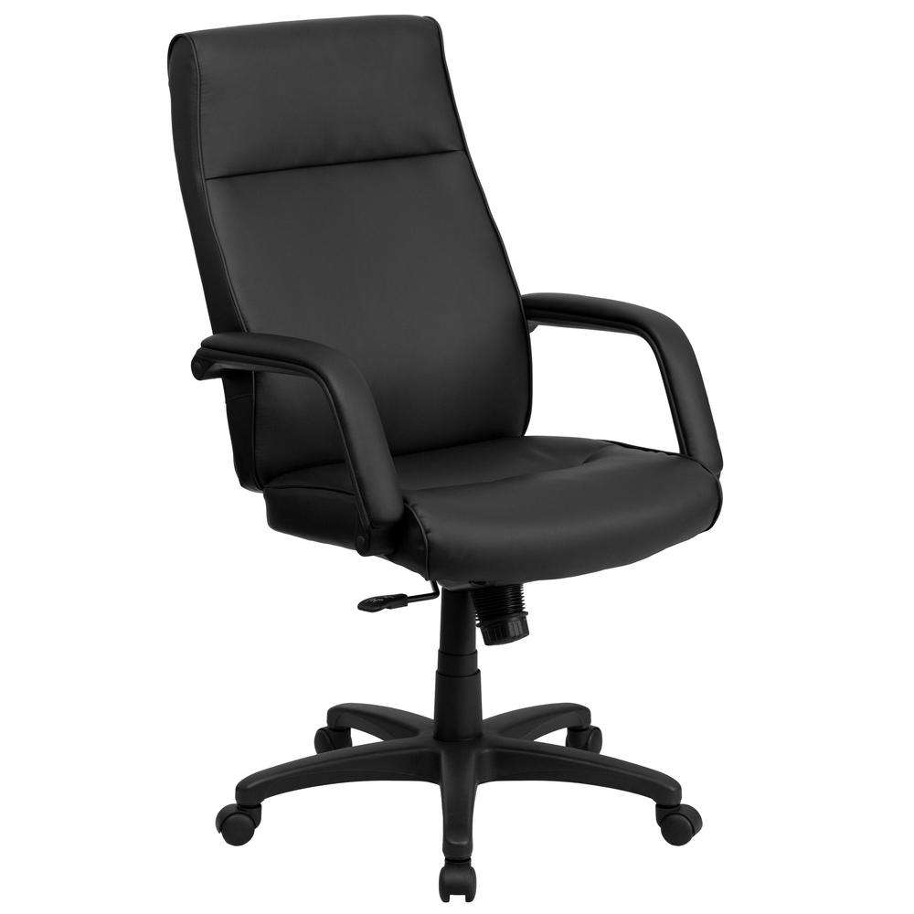 Flash Furniture High Back Black Leather Executive Swivel Office Chair With  Memory Foam Padding