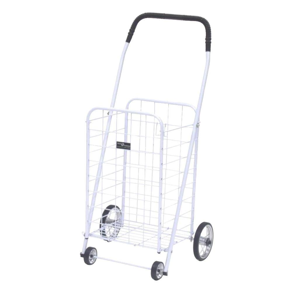 Easy Wheels Mini Shopping Cart in White The Easy Wheels Mini Shopping Cart has been the industry's premier cart with industrial strength for home use. When lying down, with the cart folded, the highest measurement is the wheels with a 5.75 in. Dia giving an incredible amount of convenience in a compact size. This particular model comes with genuine chrome-spoked wheels. Color: White.