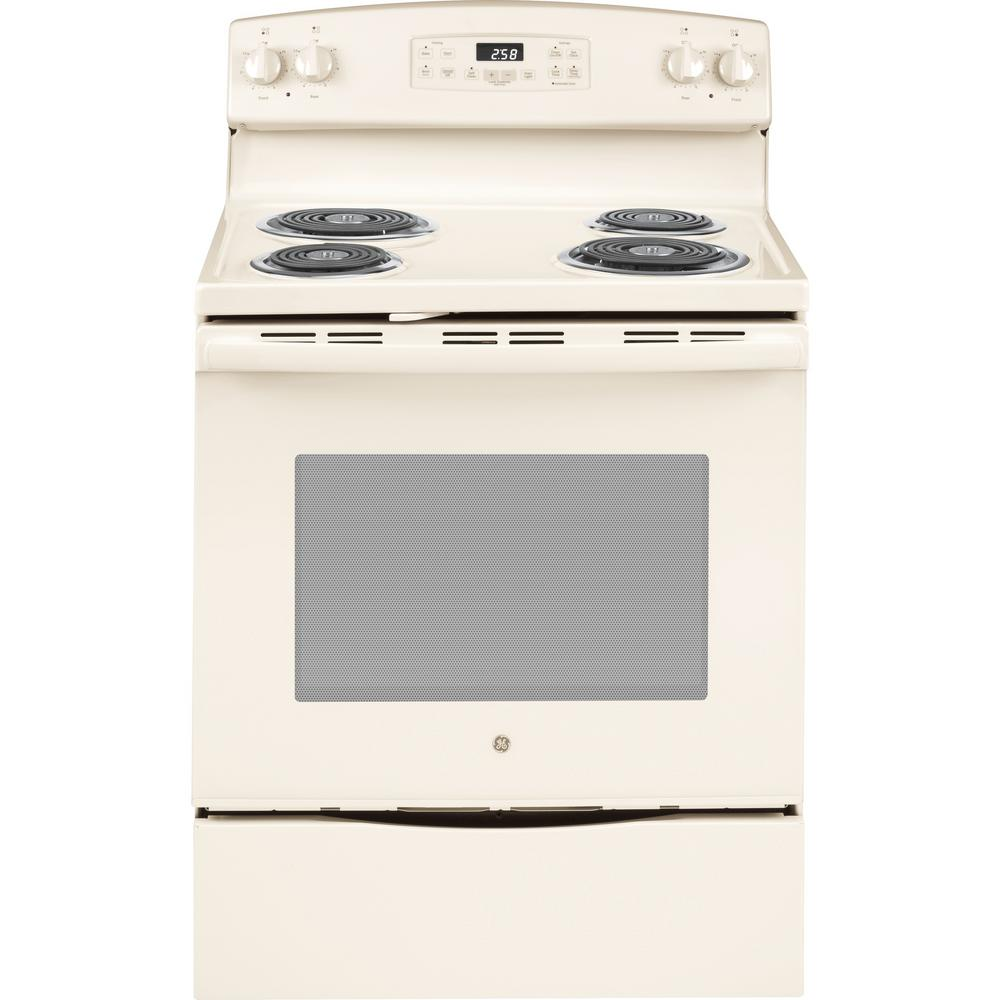 GE 30 in. 5.3 cu. ft. Electric Range with Self-Cleaning Oven in Bisque