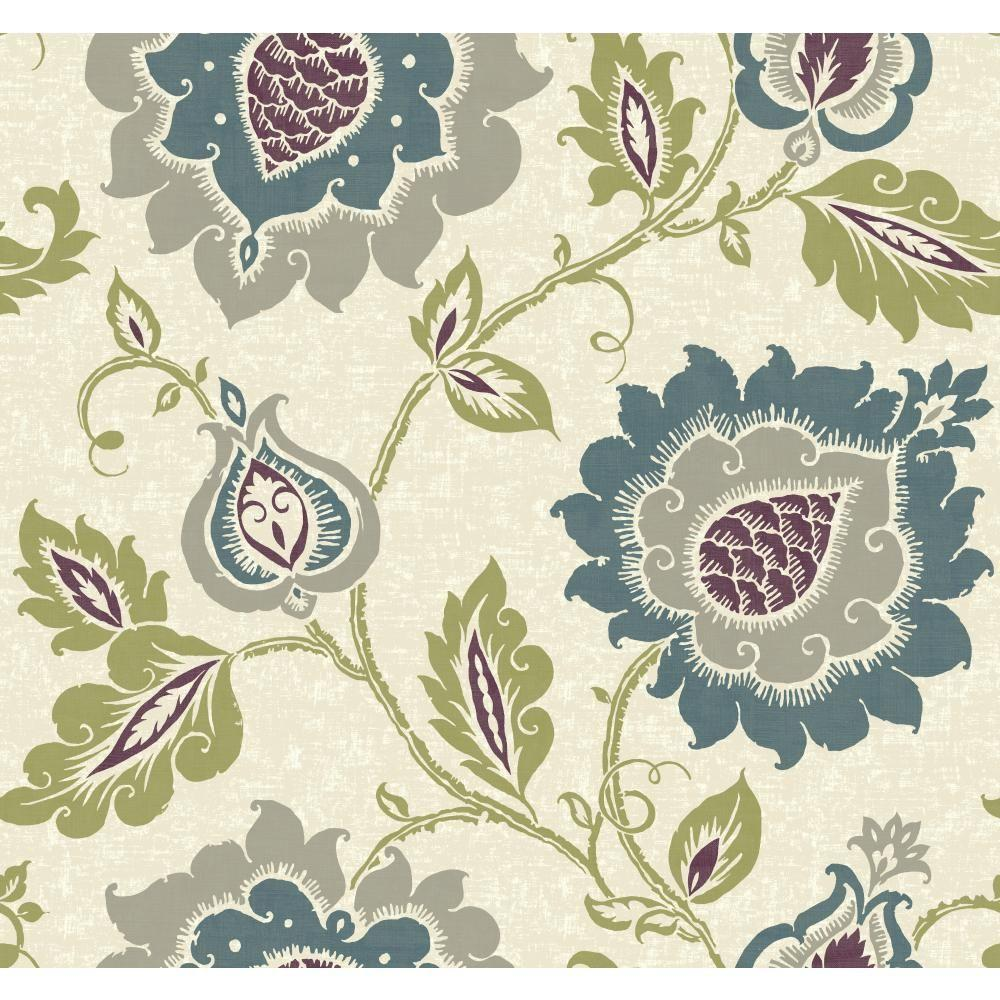 YORK Carey Lind Vibe Jaco Floral Wallpaper, Beige/Silver/...
