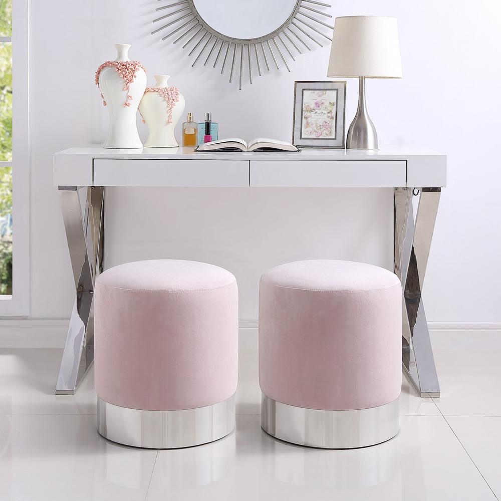 new concept 14c42 da9e5 Inspired Home Caroline Blush/Chrome Velvet Round Ottoman ...