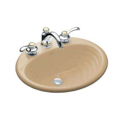 Ellington Drop-In Cast Metal Bathroom Sink in Mexican Sand with Overflow Drain