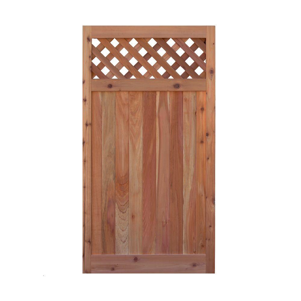 3 ft. x 6 ft. Western Red Cedar Flat Top Diagonal Lattice Fence Gate