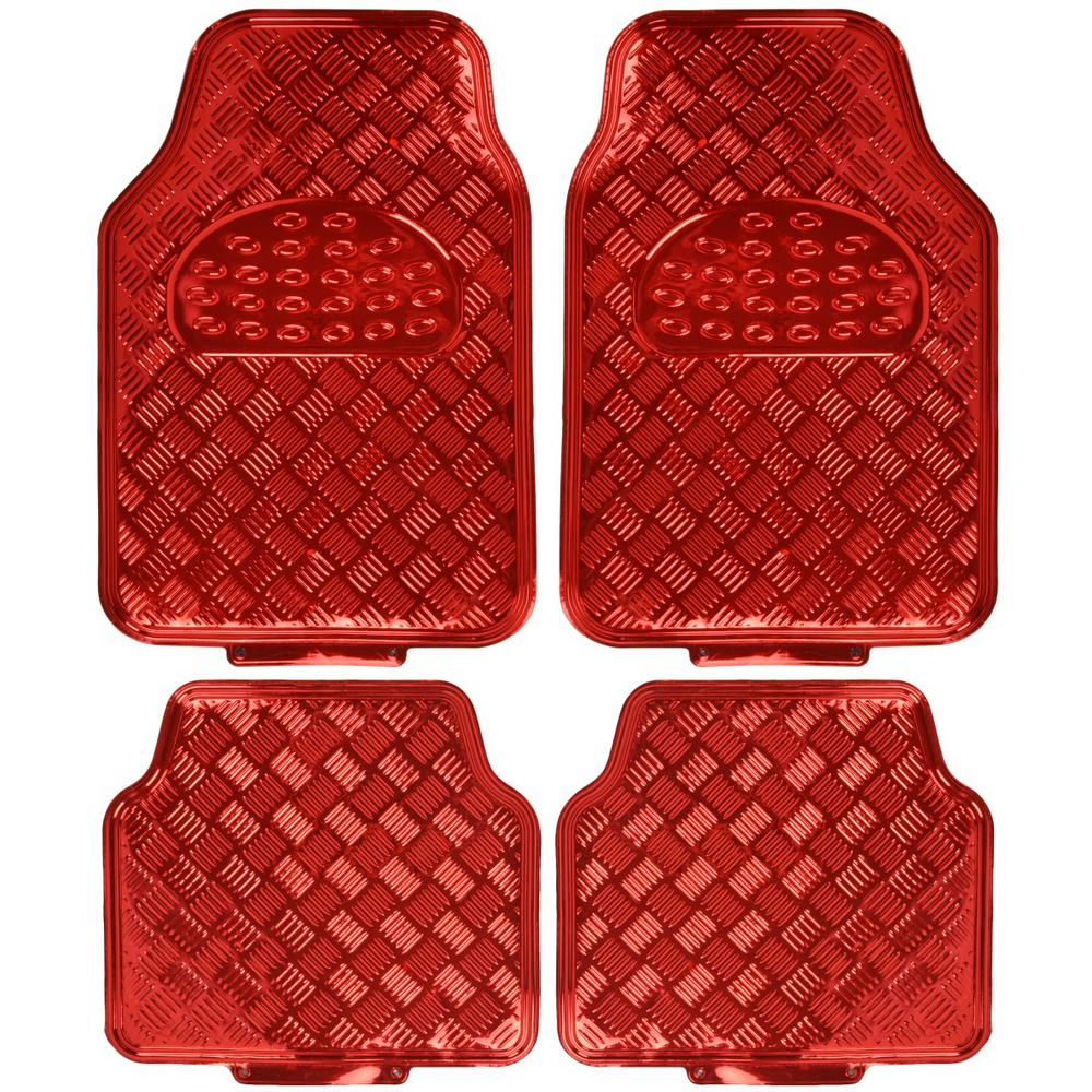 Metallic Vinyl MT-641 Red Heavy Duty 4-Pieces Car Floor Mats