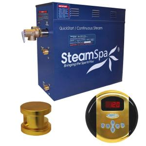 SteamSpa Oasis 4.5kW Steam Bath Generator Package in Polished Brass by SteamSpa
